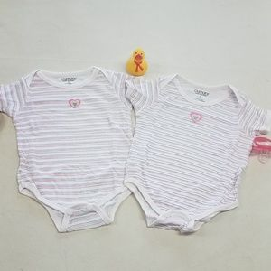 3-6mo Embroidered heart twin girl onesies